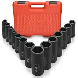 "Neiko 02476A 1/2"" Drive Deep Impact Socket Set, Cr-V S"