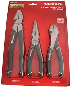 Husky 1006 3 Piece High-Leverage Pliers Set with 7 Inch Diag