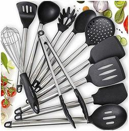 Home Hero 11 Silicone Cooking Utensils Kitchen Stainless Ste