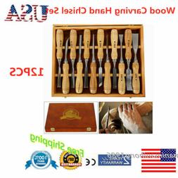 12*Wood Carving Set Wood Gouge Chisels Detail Parting Woodwo