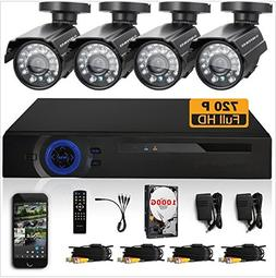 GOWE 720P HD 1200TVL 4 Outdoor Security Camera System 1080P