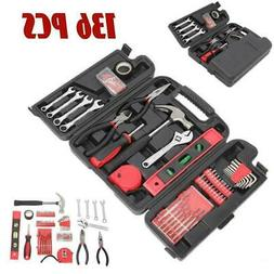 136pcs Red Tool Set Household Tools Kit Box Mechanics Women