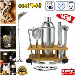 14PCS Stainless Steel Cocktail Shaker Bar Set Jigger Muddler