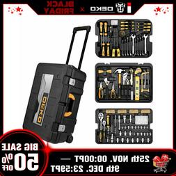 DEKO 258 Piece Tool Kit  Socket Wrench Hand Tool Set with Ro