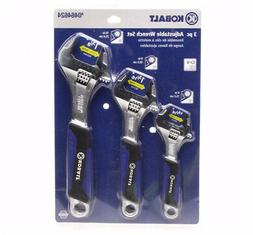 KOBALT 3 Pc Adjustable Wrench Tool Set Extra Wide Jaws No Sl