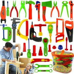 34Pcs Pretend Tools Toys Plastic Repair Set Baby Kids Boys C