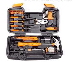 39 Piece General Repair Hand Tool Set with Tool Box Storag,