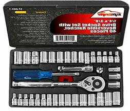 40 Pieces - EPAuto 1/4-Inch & 3/8-Inch Drive Socket Set with