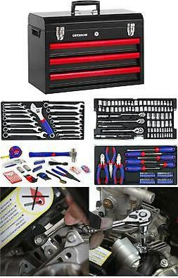 WORKPRO 408-Pcs Mechanics Tool Set w/ 3-Drawer Heavy Duty Me