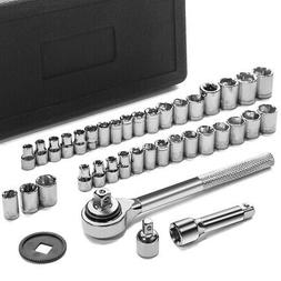 "40pc SAE & Metric Sockets Set 1/4"" & 3/8"" w/ Ratchet & Case"