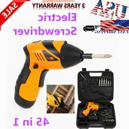45 in 1 Electric Cordless Screwdriver Drill Power Tool Set R
