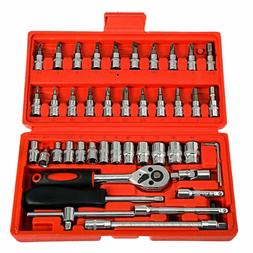 46pcs 1/4 Ratchet Wrench Combination Package Socket Tool Set