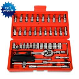 46pcs Car Repair Tool Socket Set Hand Tools Combination Wren