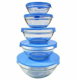 5 Piece Glass Bowl Set with Blue Plastic Lids