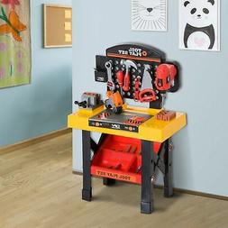 53pc Kids Pretend Play Toy Tool Workshop Bench Table Set DIY