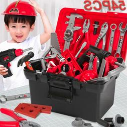 54PC Kids Tool Toy Sets Construction Toolbox Pretend Toys Wi
