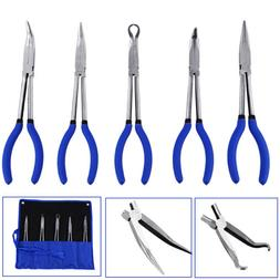 "5pcs Long Reach Needle Nose Plier 11"" inch Mechanics Electri"