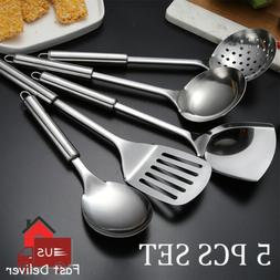 5PCS Stainless Steel Kitchen Utensil Set Cooking Serving Too