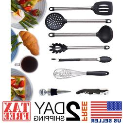 8 Piece Kitchen Utensil Set Stainless Steel Silicone Cooking