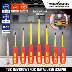 8pc Electrician's Insulated Magnetic Electrical Hand Screwdr