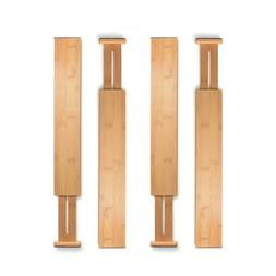 Adjustable Drawer Dividers Set of 4 Bamboo Organizer Kitchen