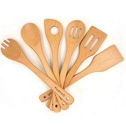 Bamber Wooden 6 Piece Cooking Utensils, Wood Tool and Gadget