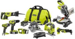 Cordless Combo Kit Power Tools Set 18-Volt Lithium-Ion 8-Pie