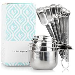 Stainless Steel Measuring Cups and Spoons, Set of 13 Pieces: