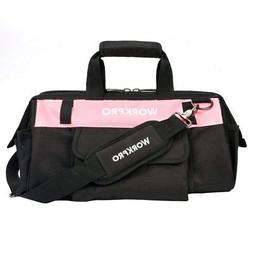 WORKPRO 16-inch Tool Bag - Pink Lady Tool Organizer, Wide Mo