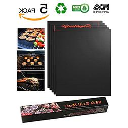 BBQ Grill Mat 100% Non-Stick Set of 5, Black Copper Grilling