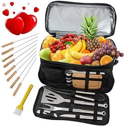 ROMANTICIST BBQ Grill Accessories Tool Set with 15 Can Insul