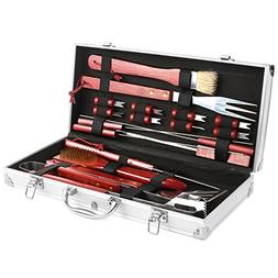 femor BBQ Grill Tools Set, 19-Piece Stainless Steel Utensils