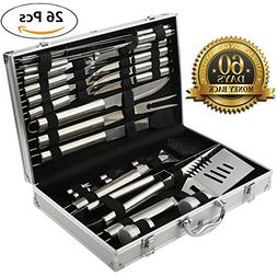 BBQ Grill Tools Set with 26 Barbecue Accessories - Stainless