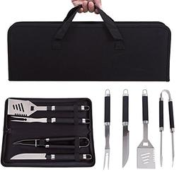 4 Pieces Professional BBQ Grilling Tool Set with Non Slip Ha