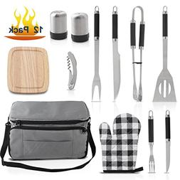 Grilljoy BBQ Tool set with 15 can Gray Insulated Cooler Bag