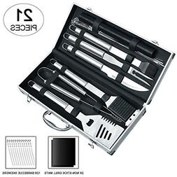Auelife BBQ Tools Set 21 Pieces Durable Grill Tool Kit w/Elo