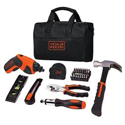 BLACK+DECKER 4V Cordless Screwdriver & Home Tool Kit, 42 Pie