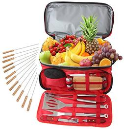 ROMANTICIST 24Pc Stainless Steel BBQ Grill Tool Set with 15