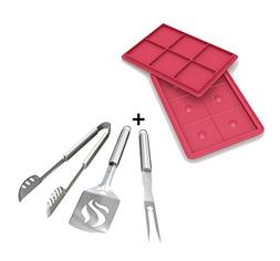Burger Press + Grill Tools Set - HEAVY DUTY 20% THICKER STAI