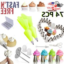 62 Pieces Cake Decorating Tools Supplies Kit Tips Icing Bags