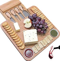 Cheese Board with Cutlery Set, Wooden Bamboo Charcuterie Pla