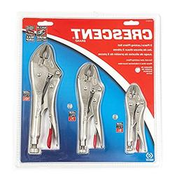 "Crescent CLP3SETN 5"", 7"" & 10"" Curved Jaw Locking Plier Set"