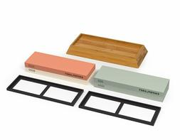 Complete Knife Sharpening Stone Set Grit Water Stones Bamboo