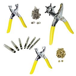 134pc Deluxe Leather Hole Punch Plier Set for Hobby Craft DI