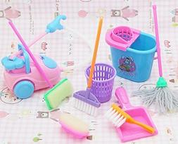 Dollhouse Miniature Cleaning Kit for Girl Barbie Dolls , Hou