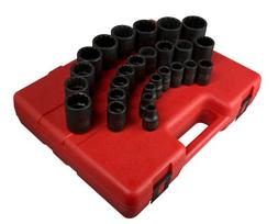 Sunex 2826 1/2-Inch Drive 12-Point Metric Impact Socket Set,
