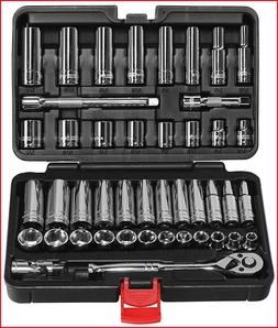 "EPAuto 45 Pieces 3/8"" Drive Socket Set with 72-Tooth Pear He"