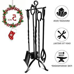 Fireplace Tool Set - Heavy Duty 5 Pieces Wrought Iron Firepl