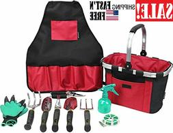 Garden Hand Tools Set with Gardening Apron and Foldable Bask