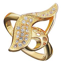 Onefeart Gold Plated Ring for Women Girls Round Cubic Zircon